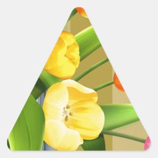 La imagen del vector de la primavera de la flor de pegatina triangular