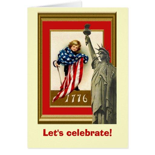 La imagen del vintage, libertad comienza aquí tarjeta de felicitación