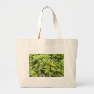 La imagen suave de un abeto del verde ramifica con bolsa tela grande