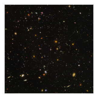 La imagen ultra profunda del espacio del campo de póster