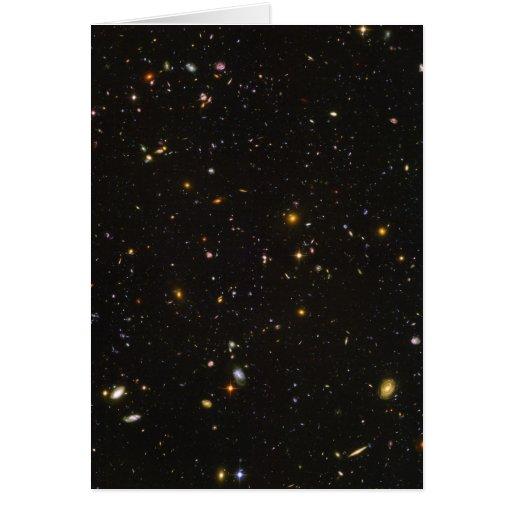La imagen ultra profunda del espacio del campo de  tarjeta de felicitación