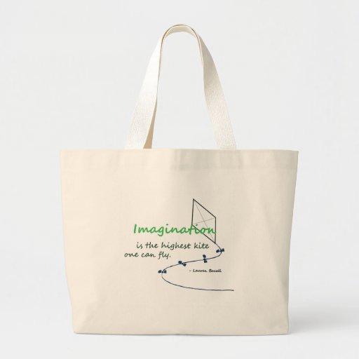 """La """"imaginación es la cometa más alta """" bolsa tela grande"""
