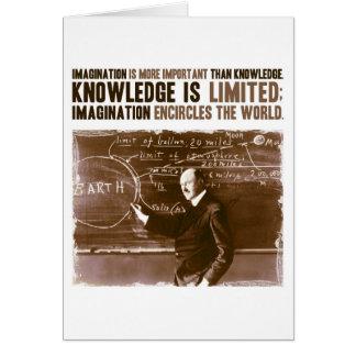 La imaginación es más importante que conocimiento tarjeta pequeña