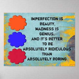 La imperfección es belleza póster