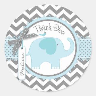 La impresión azul del elefante y de Chevron le Pegatina Redonda