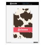 La impresión blanca rosada de la vaca de Brown enc Kindle 3 Skin