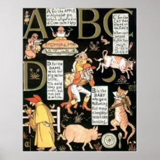 La impresión de ABC de los niños absurdos del vint Póster