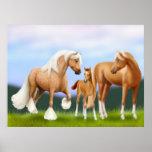 La impresión de la familia del caballo poster