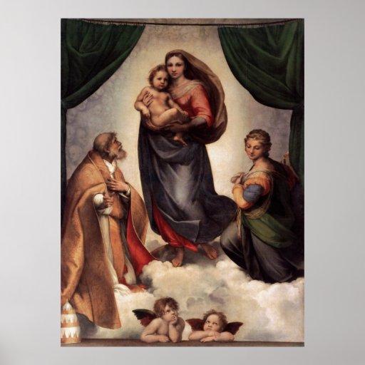La impresión de la lona de Sistine Madonna Poster