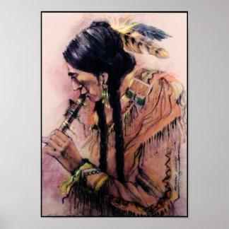 La impresión de la lona del jugador de flauta posters