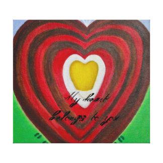 """La impresión de la lona """"mi corazón pertenece a us impresión en lona estirada"""
