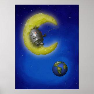 La impresión de la luna de la pesca poster