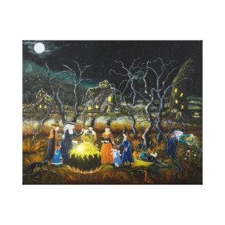 La impresión del arte de Halloween, brujas, Impresión De Lienzo