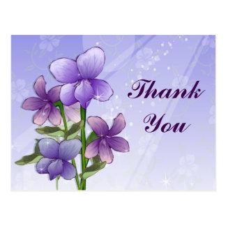 La impresión del arte de las flores de la violeta  postal