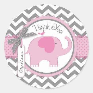 La impresión del elefante rosado y de Chevron le Pegatina Redonda