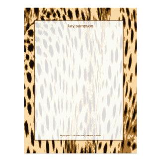 La impresión del guepardo, se ruboriza fondo membrete personalizado