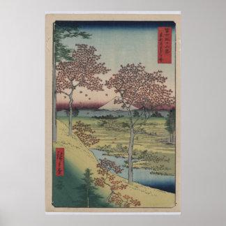 La impresión del japonés muestra la vista del mont