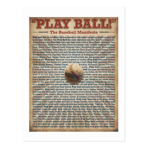 La impresión del manifiesto del béisbol postal