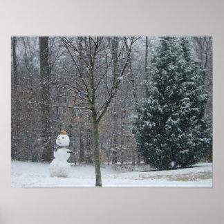 La impresión del muñeco de nieve del vecino poster