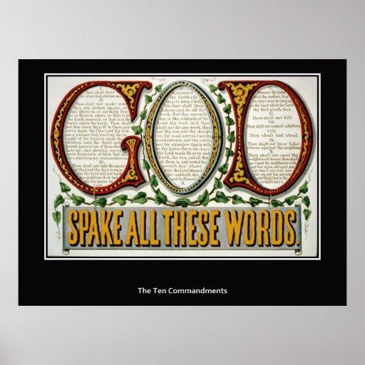 La impresión del poster de diez mandamientos