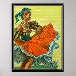 La impresión del poster del vintage de Caribean