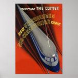 La impresión del tren del poster del vintage de Co
