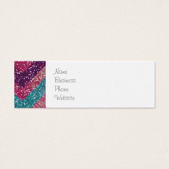 La impresión femenina Chevron del brillo raya rosa Tarjetas De Visita Mini
