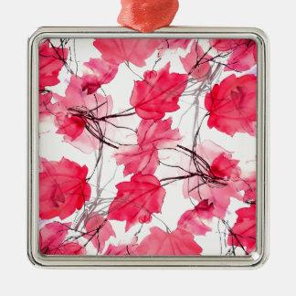 La impresión floral remolina diseño decorativo adorno navideño cuadrado de metal