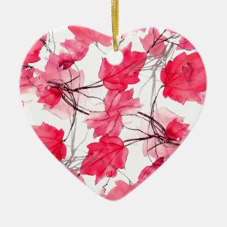 La impresión floral remolina diseño decorativo adorno navideño de cerámica en forma de corazón