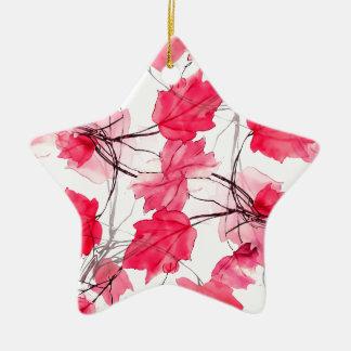 La impresión floral remolina diseño decorativo adorno navideño de cerámica en forma de estrella