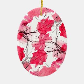 La impresión floral remolina diseño decorativo adorno navideño ovalado de cerámica