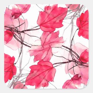 La impresión floral remolina diseño decorativo pegatina cuadrada