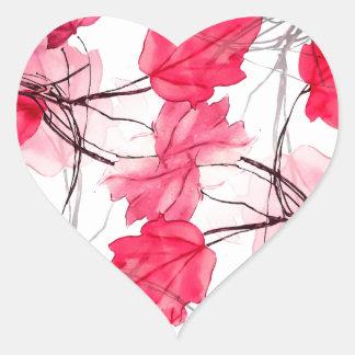 La impresión floral remolina diseño decorativo pegatina en forma de corazón