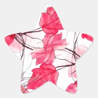 La impresión floral remolina diseño decorativo pegatina en forma de estrella