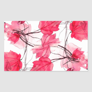 La impresión floral remolina diseño decorativo pegatina rectangular
