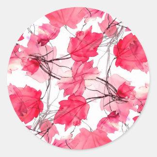 La impresión floral remolina diseño decorativo pegatina redonda