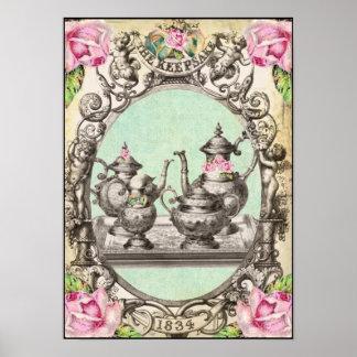 la impresión real del arte de la fiesta del té póster