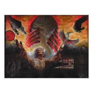 La impresión roja de la foto del arte de Orig de Cojinete