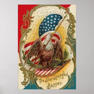 La impresión Spangled estrella de la bandera ameri Póster