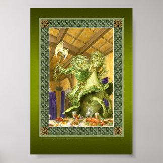 La impresión verde del caballero poster