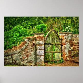 La impresión vieja de la puerta de jardín (HDR) Poster