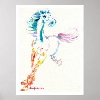 La impresión y el poster del caballo que retozan
