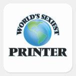 La impresora más atractiva del mundo pegatina cuadradas