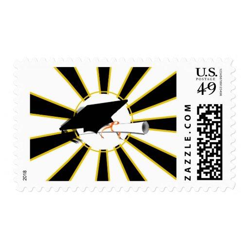 La inclinación del casquillo del graduado con la sellos postales