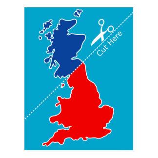 """La independencia escocesa, """"corte aquí"""" traza tarjeta postal"""