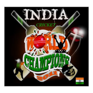 La India 2011 campeones del mundial del grillo ICC Posters