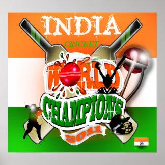 La India 2011 campeones del mundial del grillo ICC Póster