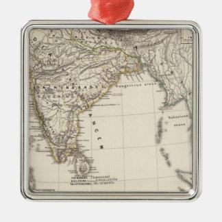 La India 3 Adorno Navideño Cuadrado De Metal