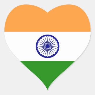 La India/bandera india del corazón Pegatina En Forma De Corazón
