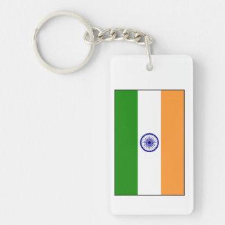 La India - bandera nacional india Llavero Rectangular Acrílico A Doble Cara